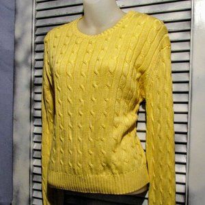 Brooks Brothers 346 Lg Yellow Cable Knit Sweater